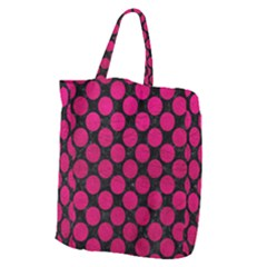 Circles2 Black Marble & Pink Leather (r) Giant Grocery Zipper Tote