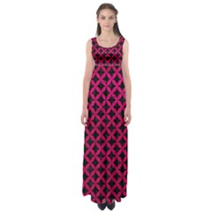 Circles3 Black Marble & Pink Leather (r) Empire Waist Maxi Dress