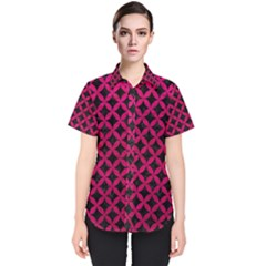Circles3 Black Marble & Pink Leather (r) Women s Short Sleeve Shirt