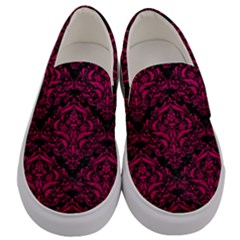 Damask1 Black Marble & Pink Leather (r) Men s Canvas Slip Ons