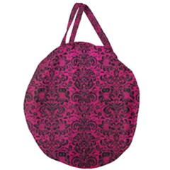 Damask2 Black Marble & Pink Leather Giant Round Zipper Tote