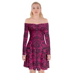 Damask2 Black Marble & Pink Leather Off Shoulder Skater Dress