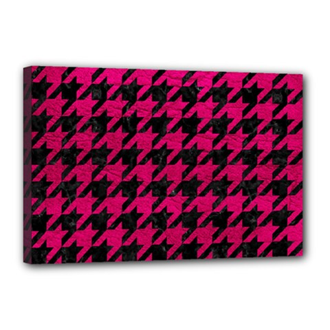 Houndstooth1 Black Marble & Pink Leather Canvas 18  X 12