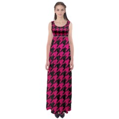Houndstooth1 Black Marble & Pink Leather Empire Waist Maxi Dress