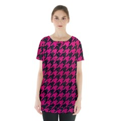Houndstooth1 Black Marble & Pink Leather Skirt Hem Sports Top