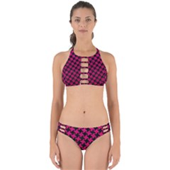 Houndstooth2 Black Marble & Pink Leather Perfectly Cut Out Bikini Set