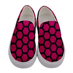 Hexagon2 Black Marble & Pink Leather Women s Canvas Slip Ons