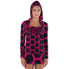 Hexagon2 Black Marble & Pink Leather (r) Long Sleeve Hooded T Shirt