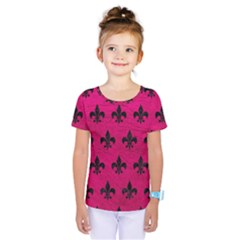 Royal1 Black Marble & Pink Leather (r) Kids  One Piece Tee