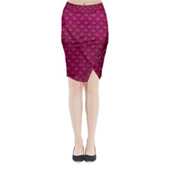 Scales2 Black Marble & Pink Leather Midi Wrap Pencil Skirt