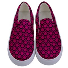 Scales2 Black Marble & Pink Leather Kids  Canvas Slip Ons
