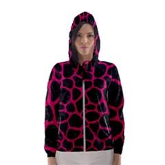 Skin1 Black Marble & Pink Leather Hooded Wind Breaker (women)