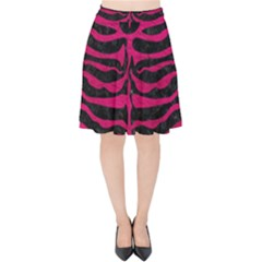 Skin2 Black Marble & Pink Leather (r) Velvet High Waist Skirt