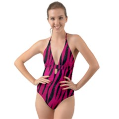Skin3 Black Marble & Pink Leather Halter Cut Out One Piece Swimsuit