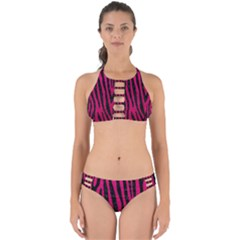 Skin4 Black Marble & Pink Leather (r) Perfectly Cut Out Bikini Set