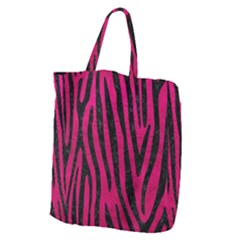 Skin4 Black Marble & Pink Leather (r) Giant Grocery Zipper Tote