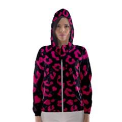 Skin5 Black Marble & Pink Leather Hooded Wind Breaker (women)