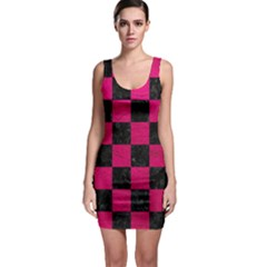 Square1 Black Marble & Pink Leather Bodycon Dress
