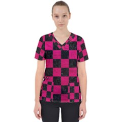 Square1 Black Marble & Pink Leather Scrub Top