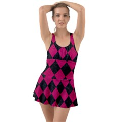 Square2 Black Marble & Pink Leather Swimsuit