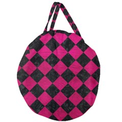 Square2 Black Marble & Pink Leather Giant Round Zipper Tote