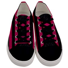 Stripes2 Black Marble & Pink Leather Men s Low Top Canvas Sneakers