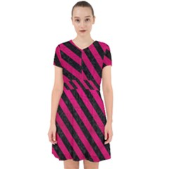 Stripes3 Black Marble & Pink Leather Adorable In Chiffon Dress