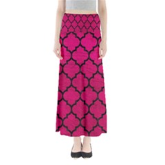 Tile1 Black Marble & Pink Leather Full Length Maxi Skirt