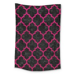 Tile1 Black Marble & Pink Leather (r) Large Tapestry