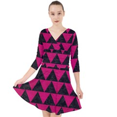 Triangle2 Black Marble & Pink Leather Quarter Sleeve Front Wrap Dress