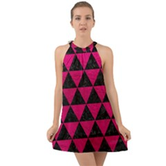 Triangle3 Black Marble & Pink Leather Halter Tie Back Chiffon Dress