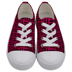 Woven1 Black Marble & Pink Leather Kids  Low Top Canvas Sneakers