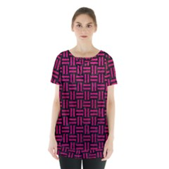 Woven1 Black Marble & Pink Leather (r) Skirt Hem Sports Top