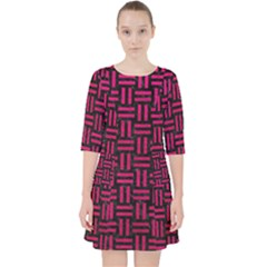 Woven1 Black Marble & Pink Leather (r) Pocket Dress