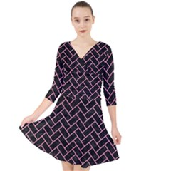 Brick2 Black Marble & Pink Watercolor (r) Quarter Sleeve Front Wrap Dress