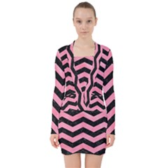 Chevron3 Black Marble & Pink Watercolor V Neck Bodycon Long Sleeve Dress