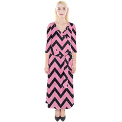 Chevron9 Black Marble & Pink Watercolor Quarter Sleeve Wrap Maxi Dress