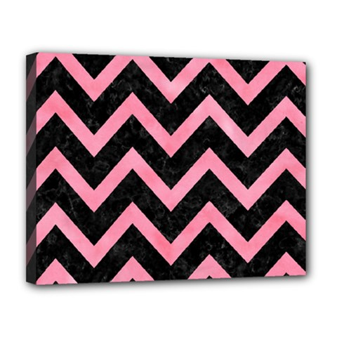 Chevron9 Black Marble & Pink Watercolor (r) Canvas 14  X 11