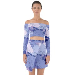 Abstract Nature 3 Off Shoulder Top With Skirt Set