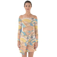 Abstract Nature 5 Off Shoulder Top With Skirt Set