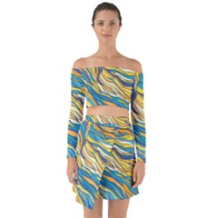 Abstract Nature 7 Off Shoulder Top With Skirt Set