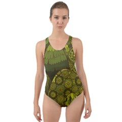 Abstract Nature 11 Cut Out Back One Piece Swimsuit
