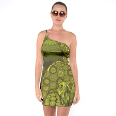 Abstract Nature 11 One Soulder Bodycon Dress