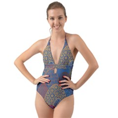 Abstract Nature 13 Halter Cut Out One Piece Swimsuit