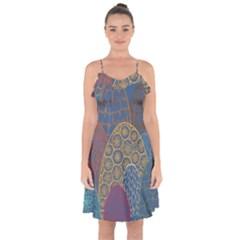 Abstract Nature 13 Ruffle Detail Chiffon Dress