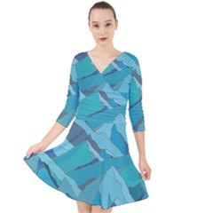 Abstract Nature 17 Quarter Sleeve Front Wrap Dress