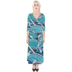 Abstract Nature 19 Quarter Sleeve Wrap Maxi Dress
