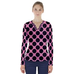 Circles2 Black Marble & Pink Watercolor V Neck Long Sleeve Top