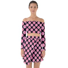 Circles2 Black Marble & Pink Watercolor (r) Off Shoulder Top With Skirt Set
