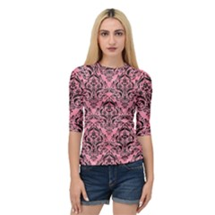 Damask1 Black Marble & Pink Watercolor Quarter Sleeve Raglan Tee